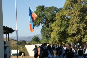 Flag raising at morning assembly